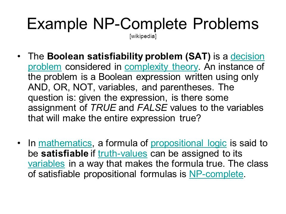 Example NP-Complete Problems [wikipedia]